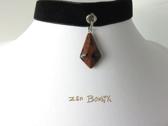 Collier Choker Velours et Obsidienne Acajou Collier par ZenBoutik