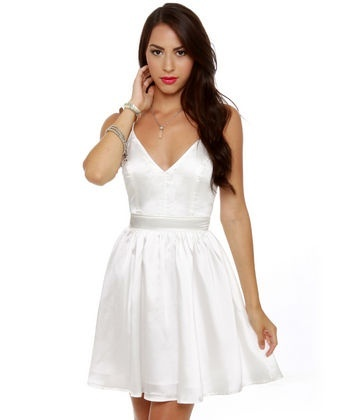 Little white dress.: Sexy Backless Dress, Backless White Dresses, Girlfriends Backless, Backless Dresses, Parties Dresses, Bridal Shower Dresses, Satin Dresses, Little White Dresses, Beautiful Clothing