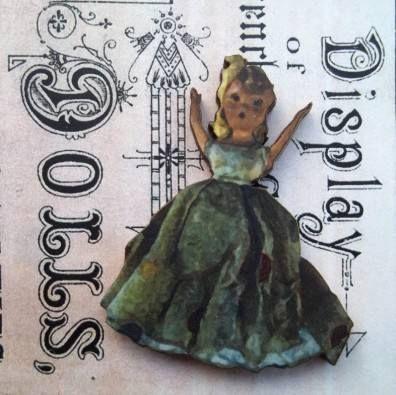 Queenie - Wooden Doll Pin Brooch