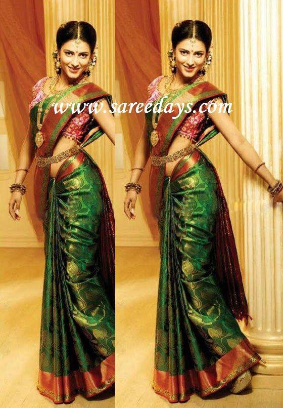 Latest Saree Designs: sruti hasan in green uppada pattu bridal saree