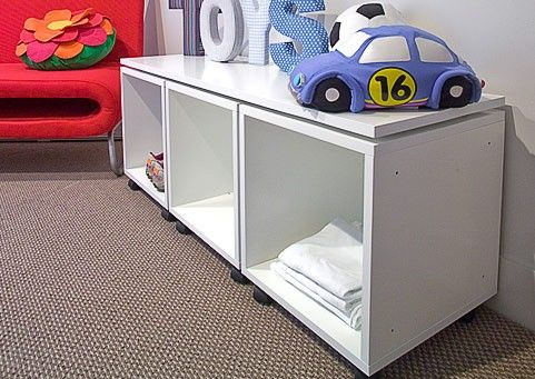 Image: Three x 380 Cubox's on castors and fitted with a top.  Cubox is available in these colours and finishes:  White Black Natural MDF Clear Laquer