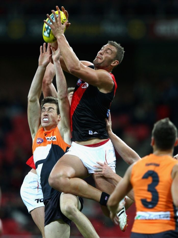 Tom Bellchambers hangs high on his way to three goals - round 8, 2012 GWS vs Ess
