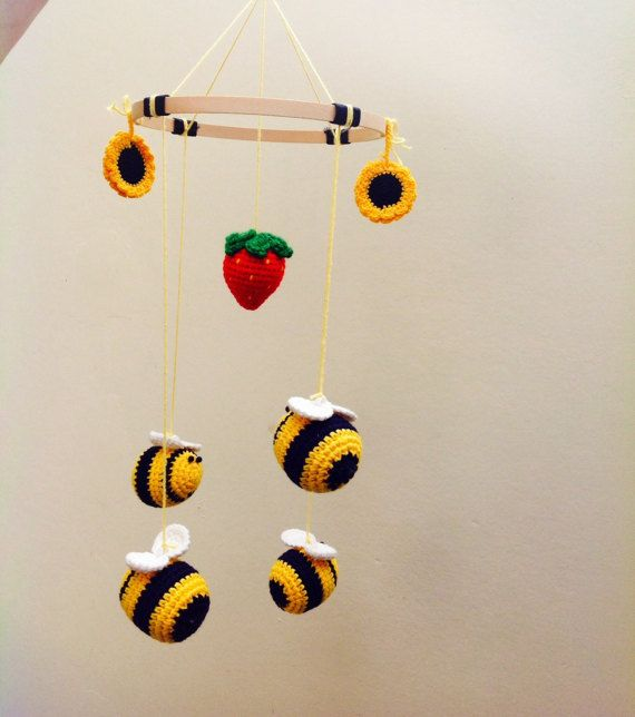 Bee Baby Mobile Bee Strawberry Crocheted by TheCrochetMagicShop