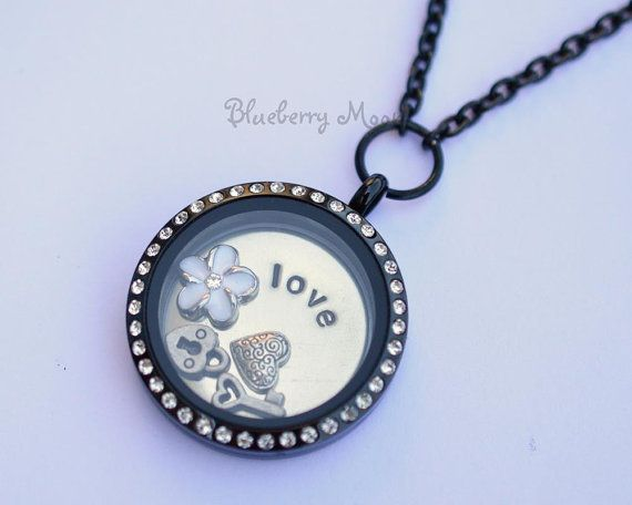 Black memory locket with hearts and flower floating charms, custom hand stamped living locket on Etsy, $40.00 CAD