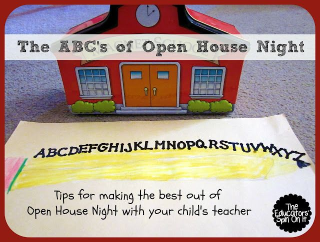 The ABC's of Open House! Tips for Open House Night at school from The Educators' Spin On It