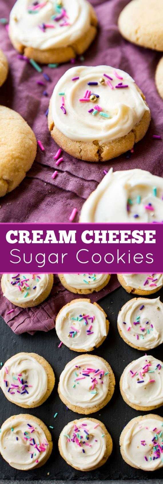 Cream cheese turns good sugar cookies into GREAT sugar cookies! Soft, tender, chewy, with incredible flavor! Recipe on sallysbakingaddiction.com