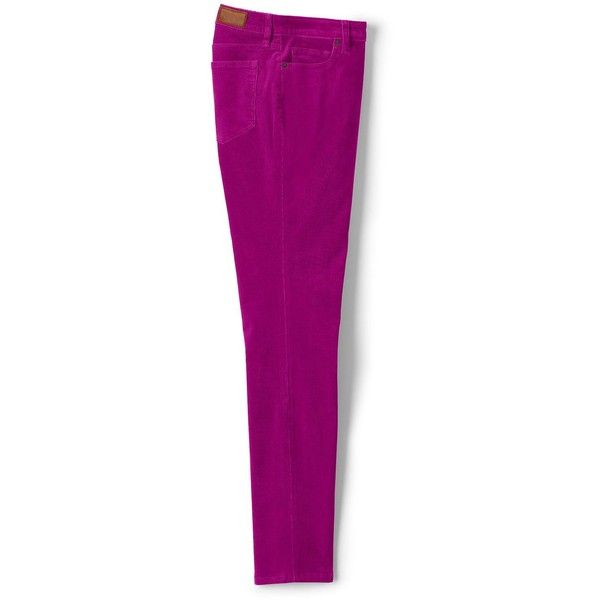 Lands' End Women's Petite Mid Rise Slim Leg Corduroy Pants ($59) ❤ liked on Polyvore featuring pants, red, purple corduroy pants, petite trousers, lands end pants, petite pants and red corduroy pants