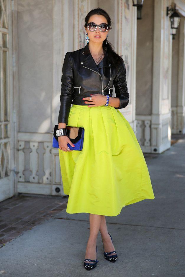 Luminous Yellow Midi Skirt Outfit