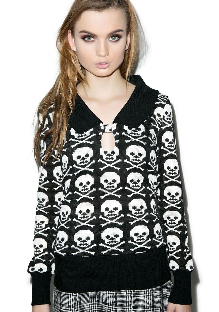 Jawbreaker Skull N' Crossbonez Sweater | Dolls Kill
