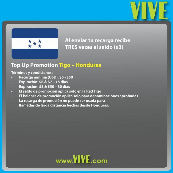#HOY las #recargas internacionales en www.vive.com reciben bono triple! #Tigo #Honduras