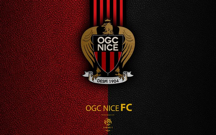Download wallpapers Nice FC, 4K, French football club, Ligue 1, leather texture, logo, emblem, Nice, France, football, OGC Nice
