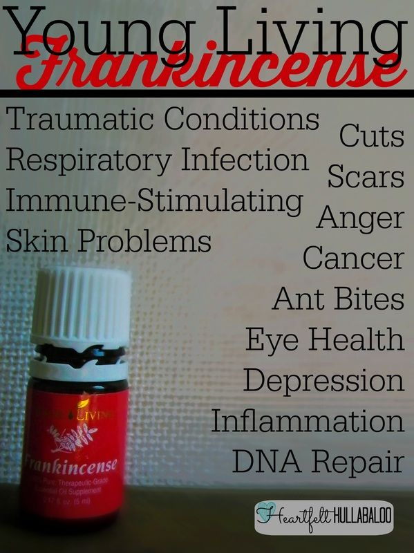 Young Living Frankincense.  Traumatic conditions, respiratory infection, immune-stimulating, skin problems, cuts, scars, anger, cancer, ant bites, eye health, depression, inflammation, DNA repair.  Heartfelt Hullabaloo