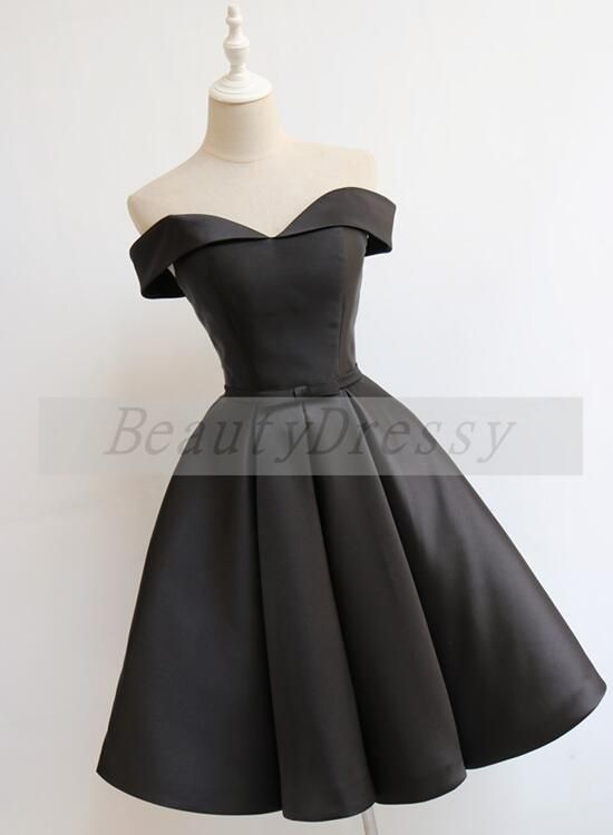 Black Off Shoulder Satin Knee Length Homecoming Dress 2019 2e42dcdef6f9