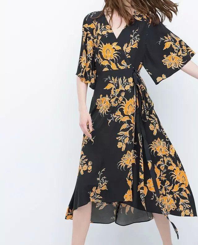 Vintage Inspired Floral Print Wrap Dress