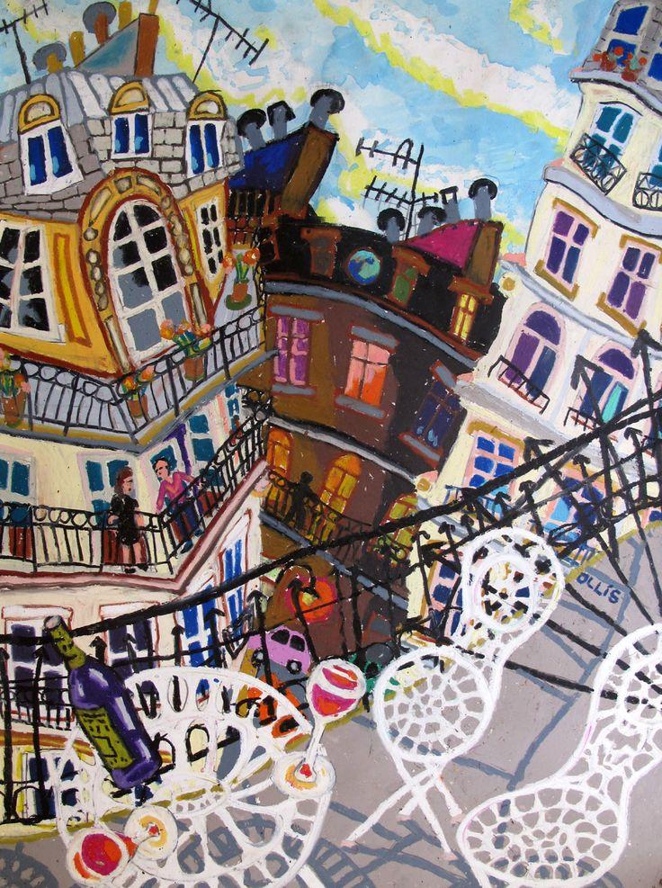 Bernard Ollis, 'Rue Lapeyrere', oil pastel, 70 x 57 cm. on display at Falls Gallery