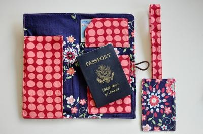 travel wallet with a matching luggage tag ... wallet has a place for photo ID, tickets, and passport ... it'd also make for a great bon voyage present!