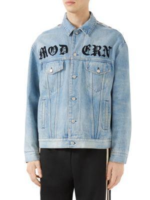 GUCCI Oversize Denim Jacket With Appliqués.  gucci  cloth  appliqués ... d7e0b0ae0c6