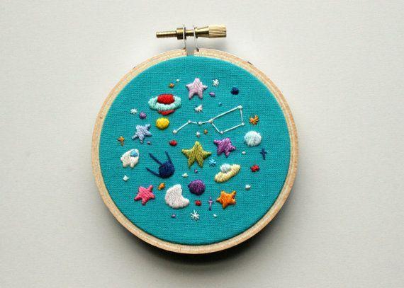 Space Mini Hoop Embroidery Pattern PDF. por seaofstarscrafts