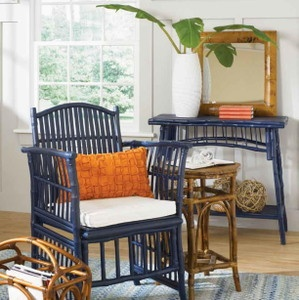 Love This Room With Unusual Navy Bamboo Rattan Chair And