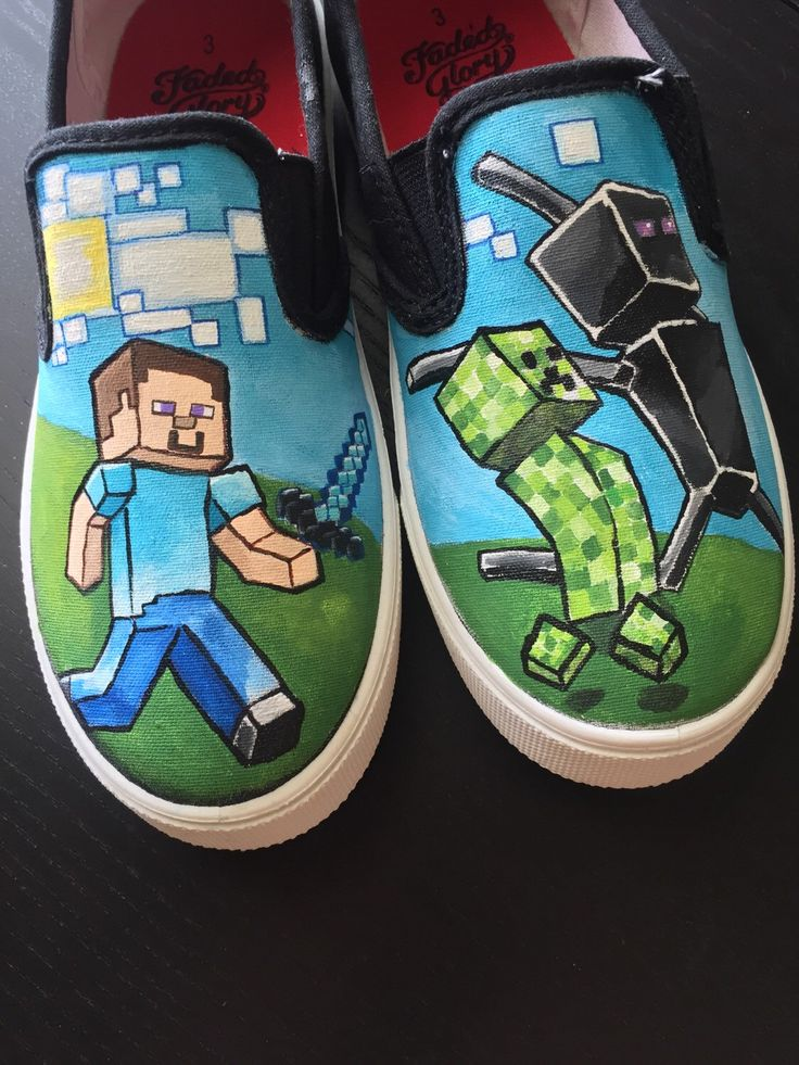 Hand-Painted Minecraft Canvas Slip-on Shoes by WitWillow on Etsy https://www.etsy.com/listing/220910790/hand-painted-minecraft-canvas-slip-on