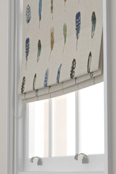 Limosa Indigo/Mustard/Stone  Roman Blinds by Harlequin. Rows of delicate, pretty coloured feathers create a pleasing stripe effect. Created on a linen mix base. Shown in the shades of blue with beige colourway. Please request sample for true colour match.