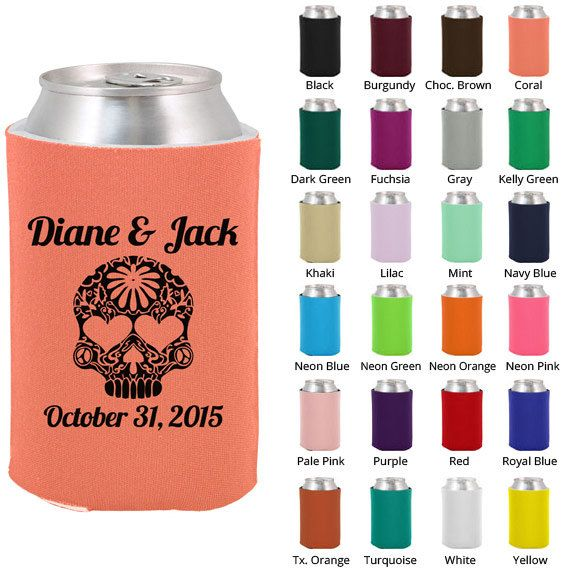 Personalized Koozies Clipart 1171 Skull Wedding by MyWeddingStore, $49.00