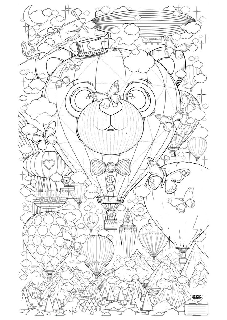 hot air balloon coloring page pdf