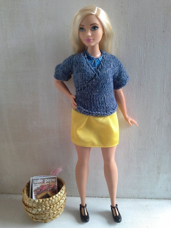 Hand knitted blue kimono jacket for Curvy Barbie by magicalcrumbs