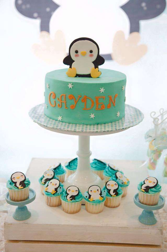Penguin birthday party cake! See more party ideas at CatchMyParty.com!