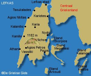 De kaart van Lefkas - The map of Lefkas