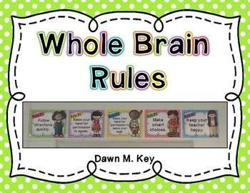 Free Whole Brain Rule PostersRule 1. Follow directions quickly Rule 2. Raise your hand for permission to speakRule 3. Raise your hand for permission to leave your seatRule 4. Make smart choicesRule 5. Keep your teacher happyFor more information on Whole Brain Teaching or for additional resources, please visit www.wholebrainteaching.com.If you have any questions, please email me.