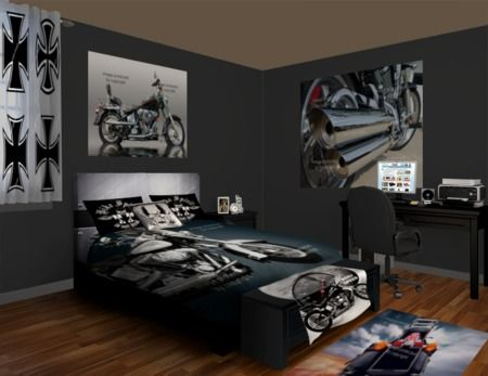 Choppers and bikes are the highlight of this motorcycle for Passionate bedroom designs