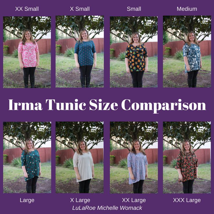 "LuLaRoe Irma Tunic Sizing Comparisons  I am a size 14/16 and 5'3""! See how the different Irma Sizes fit me!"