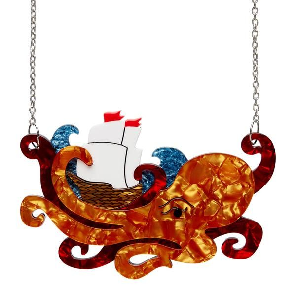 """Erstwilder Collectible What's Kraken Necklace. """"Release the Kraken from depths below, he'll sink your ship and steal your dough and rock your life raft to and fro."""""""