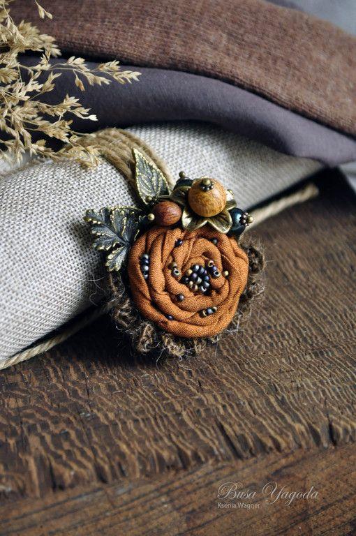"""Купить Брошь """"Букет из осени..."""" - рыжий, ржавый, коричневый, брошь цветок"""
