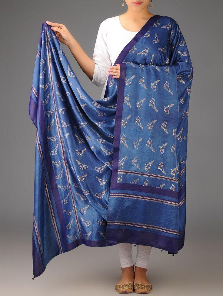 Buy Indigo Blue Gajji Silk Khari Block Printed Dupatta Accessories Dupattas Free Bird and Mulberry Sarees & Online at Jaypore.com