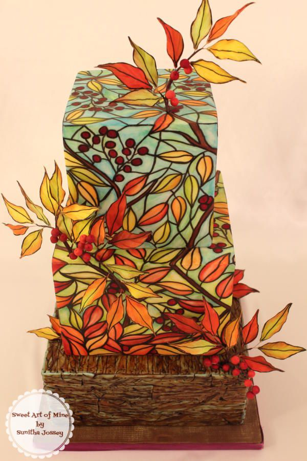 """~""""_Stained glass Fall Theme Cake by Sunitha Jossey__"""" inspired by Maggie Austin's signature stained glass technique.__~"""