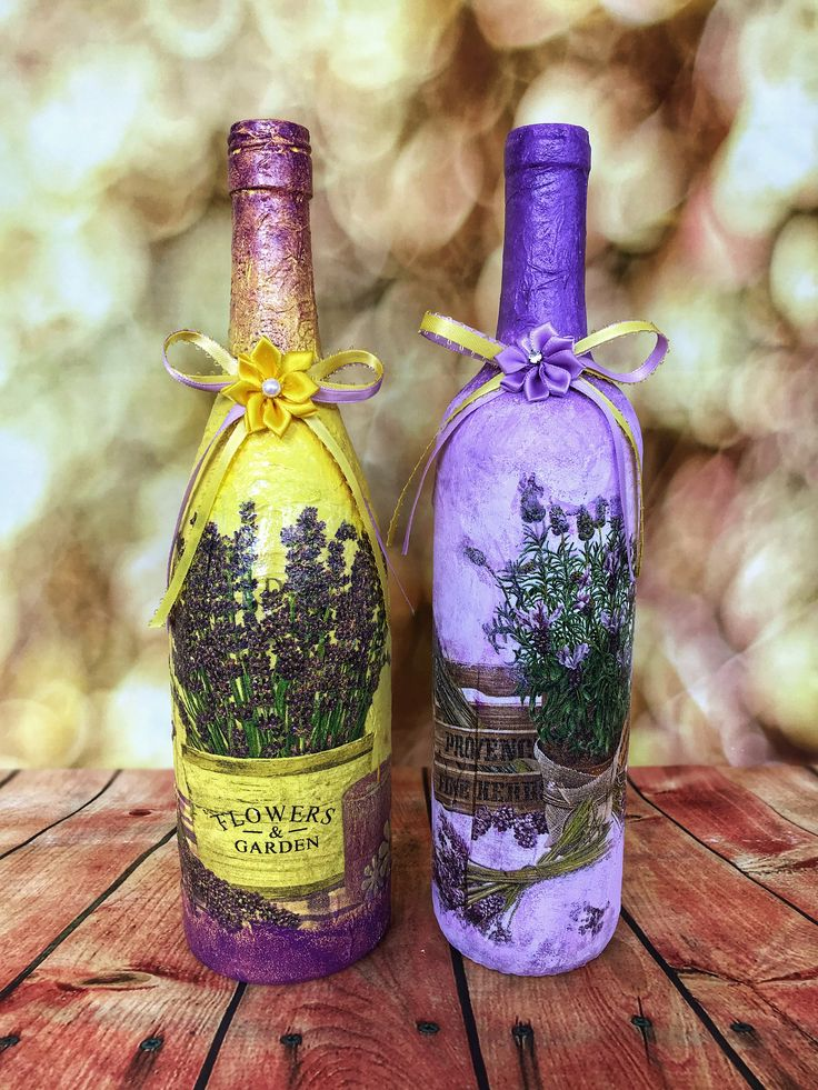 Decorated Wine Glass Bottles Set.Decoupage Craft.Glass Bottles Art.Lavender Bottles.Home Decor.Table Display.Yarn Bottles.Centerpieces.Gift. by ISDdesignstudio on Etsy
