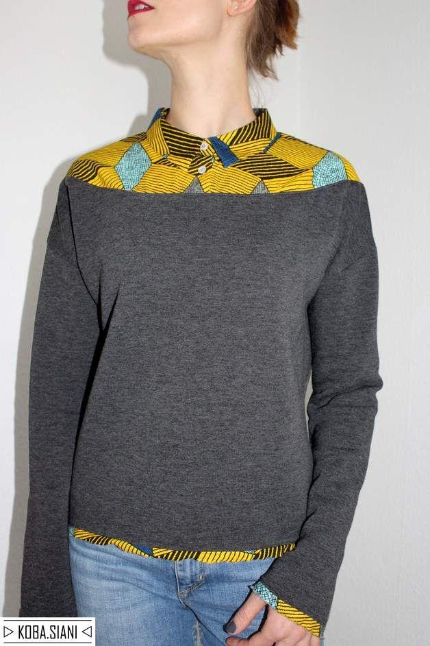 #Sweatshirt mit #Mustermix: #Oberteil mit gemusterten Blusenkragen. Lässig geschnittener #Pullover in grau / #sweater with a #blouse #collar. The collar has a yellow #geometrical pattern made by Koba.Siani via DaWanda.com
