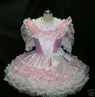 SHEER VICTORIAN ORGANZA PINK ADULT SISSY DRESS lock | 1 ...