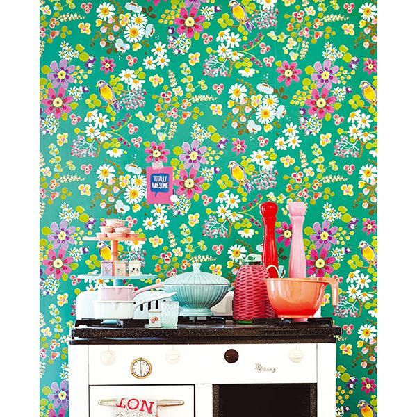 359073 - Freja Green Painted Florals Wallpaper - by Eijffinger