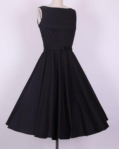 Audrey Hepburn Boatneck swing dress black AH2011A @Madeleine Andrews Didn't you say Sydnie likes boatnecks?