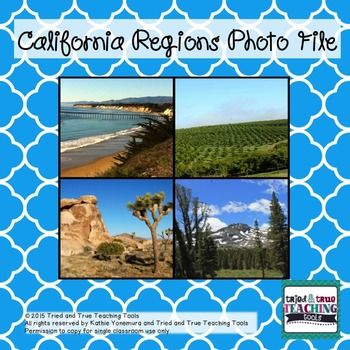 This complete set of 36 gorgeous photos of California's 4 regions is the perfect supplement for teaching visual vocabulary and California geography! Photographed by Tried and True Teaching Tools, these photos enhance student understanding! Includes information slide for each region. More than just pictures!