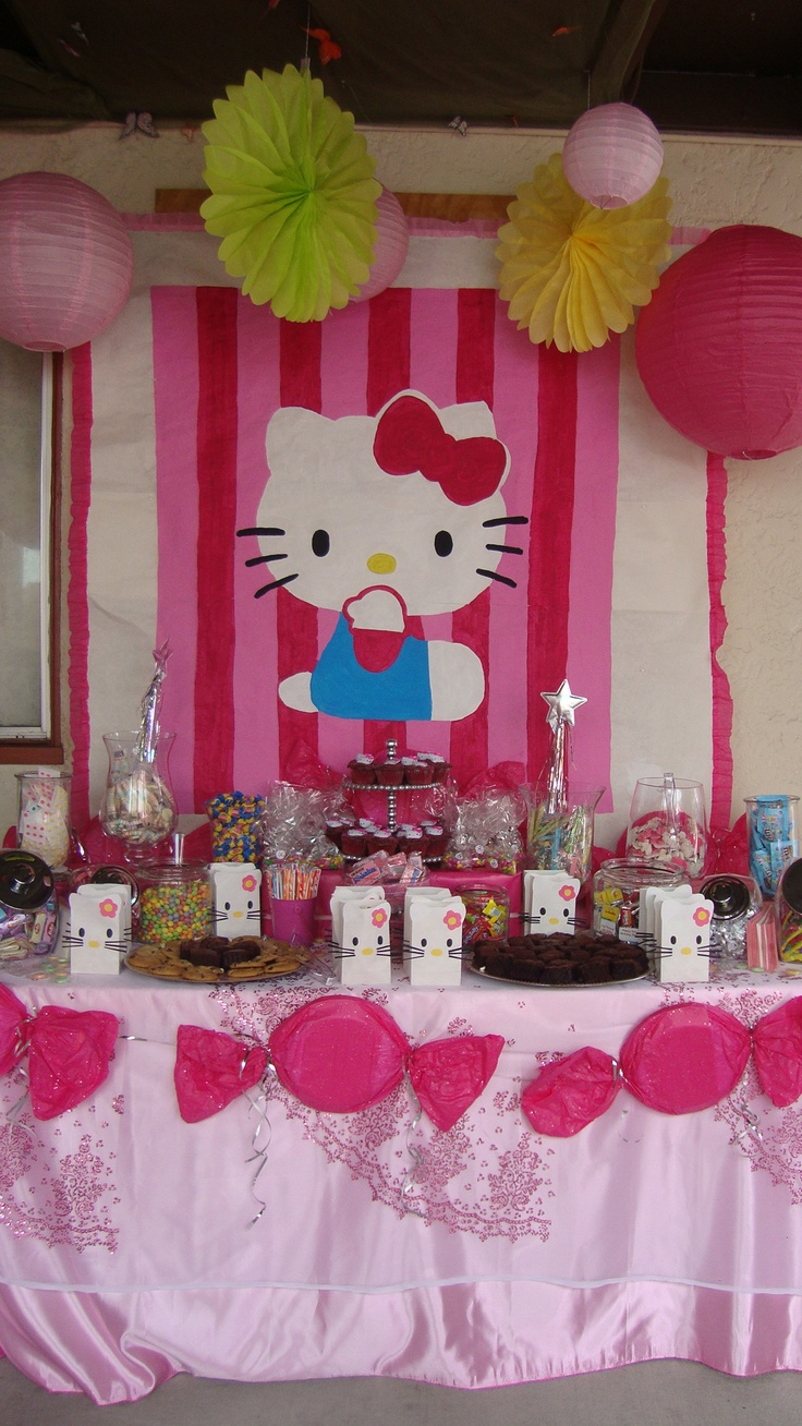Hello Kitty Party...like the candy peices on the table cloth..i could cut out some candy peices out of white poster board & paint them a glittery sparkly pink!! Maybe lay a few of  them on top of the candy bar table for kenzies party