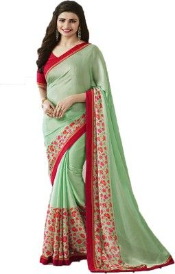 f3d71f83c4 IndianEfashion Self Design, Floral Print, Printed Bollywood Georgette Saree(Light  Green)