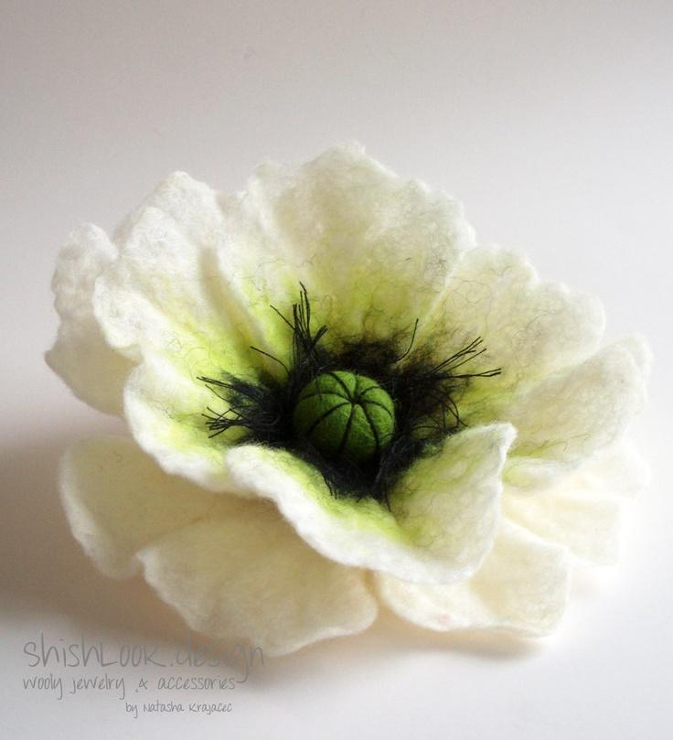 Hand Felted Flower Brooch, Wool Felt Jewelry ,Poppy Brooch, Felted Flower,Flower Pin , White Poppy. $17.00, via Etsy.