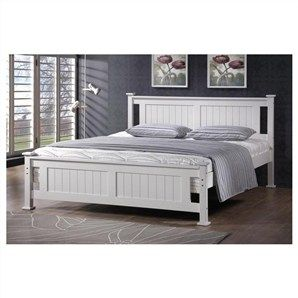Batna Solid New Zealand Pine Queen Size Bed in White  livingstyles.au.com