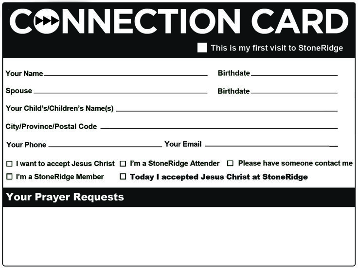 Best Church Connection Cards Images On   Church