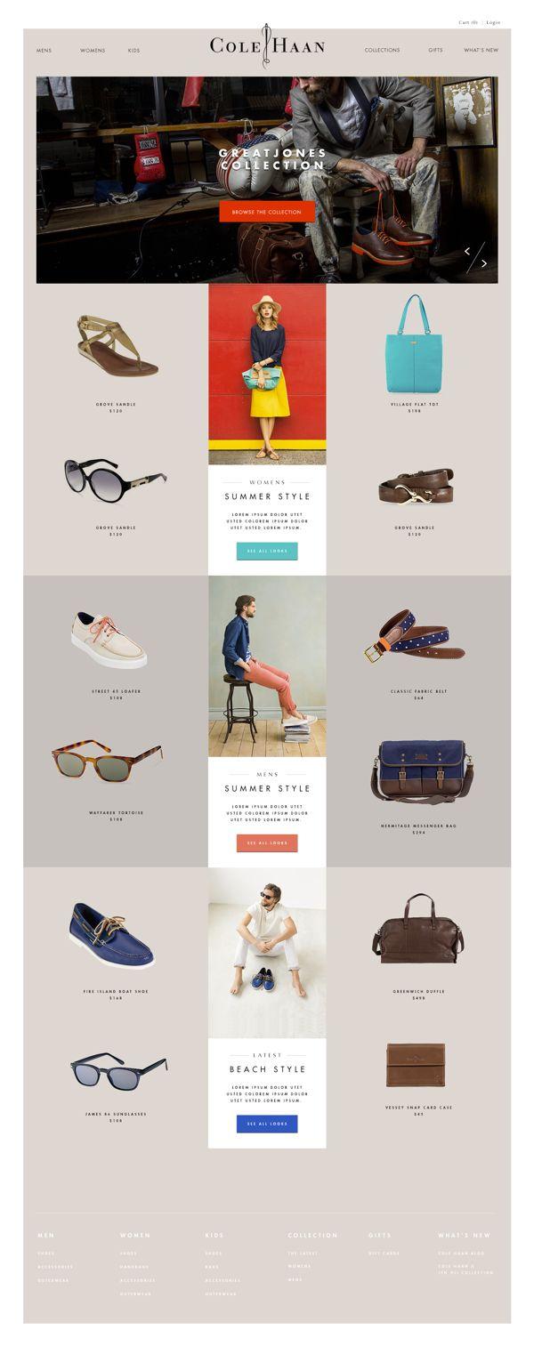 web design / clean layout / minimal / color pops / Cole Haan by Joshua Long / via Behance