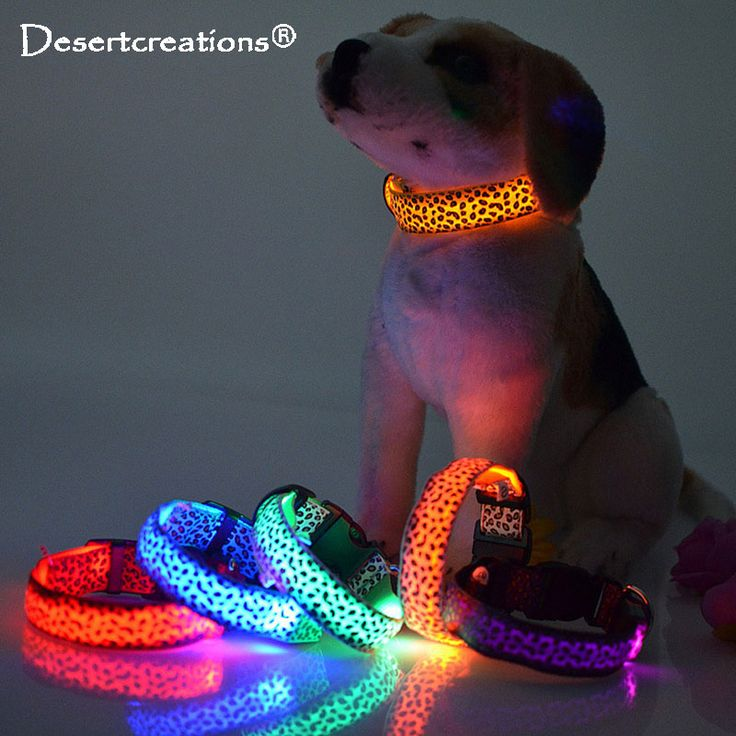 Leopard LED Pet Dog Collar Night Safety Flashing Glowing Collar Leash For Dogs Luminous Fluorescent Anti-lost Leads Pet Supplies //Price: $8.99 & FREE Shipping //     #hashtag3
